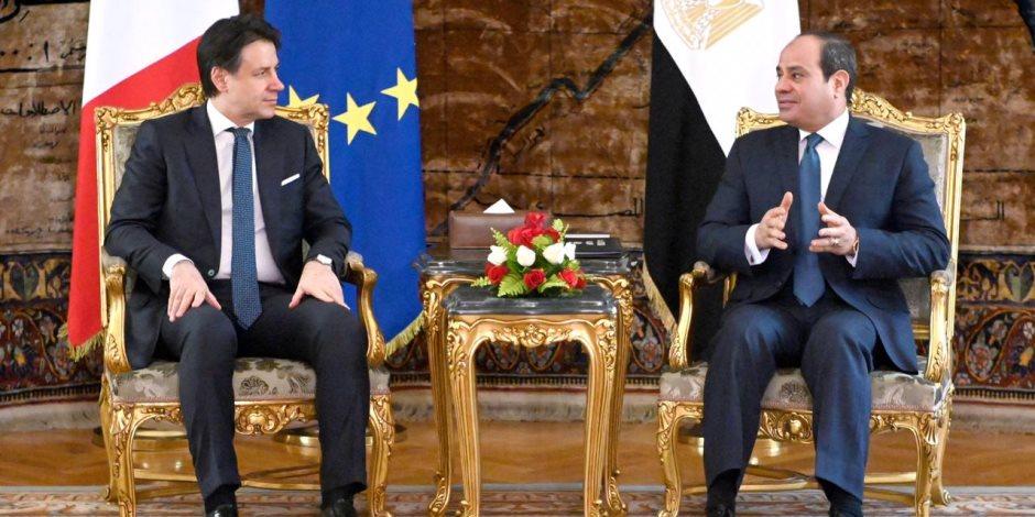 توافق بين السيسى وكونتى لدعم مساعى التسوية السياسية وحل شامل للقضية الليبية