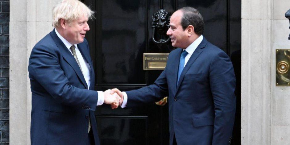 السيسي يبدأ مباحثاته مع رئيس الوزراء البريطاني في لندن