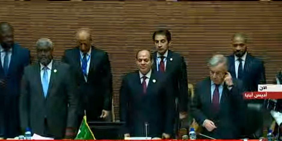 السيسي يهنئ رؤساء تونس والجزائر وموريتانيا خلال جلسة قمة الاتحاد الأفريقى
