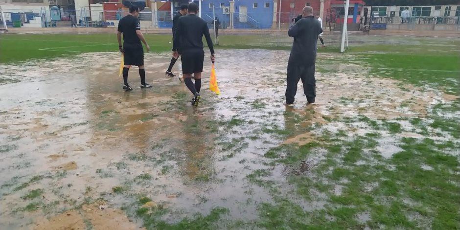 الأمطار تتسبب فى إلغاء مباراة النصر والنجوم بدوري القسم الثاني
