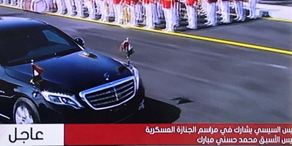 الرئيس السيسي يغادر الجنازة العسكرية لجثمان الرئيس الأسبق حسني مبارك بعد انتهاء مراسمها