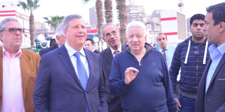 مرتضى منصور  يصطحب بعثة الترجي التونسي في زيارتها لنادي الزمالك