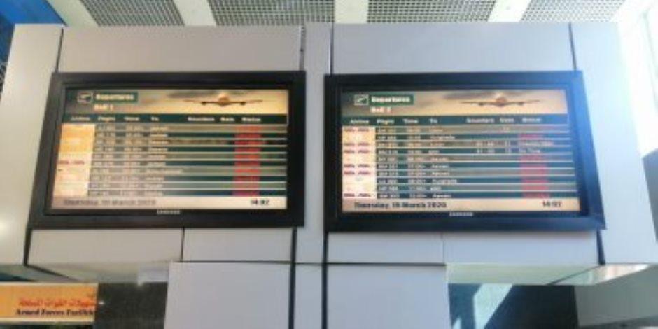 مطار القاهرة بلا مسافرين.. شاشات صالات السفر والوصول (صفر) (صور)
