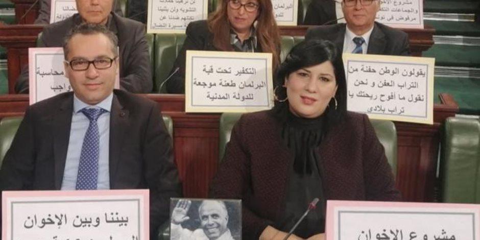 اعتراضا على سياسة الإخوان.. ماذا قالت عبير موسى بعد اعتصامها  بالبرلمان التونسى؟
