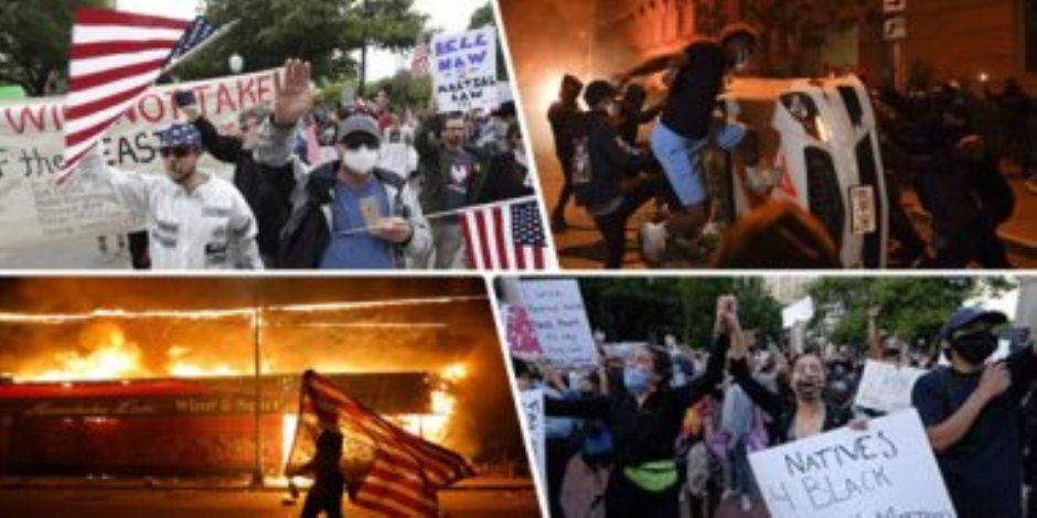 أمريكا تشتعل..المظاهرات تضرب المدن الأمريكية..وترامب يستعين بالجيش لدعم السلطات المدنية