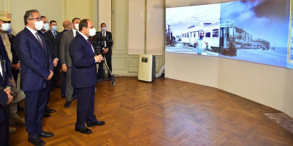 الرئيس السيسي يتفقد قصر البارون بعد افتتاحه ويستمع لشرح حول إعادة ترميمه