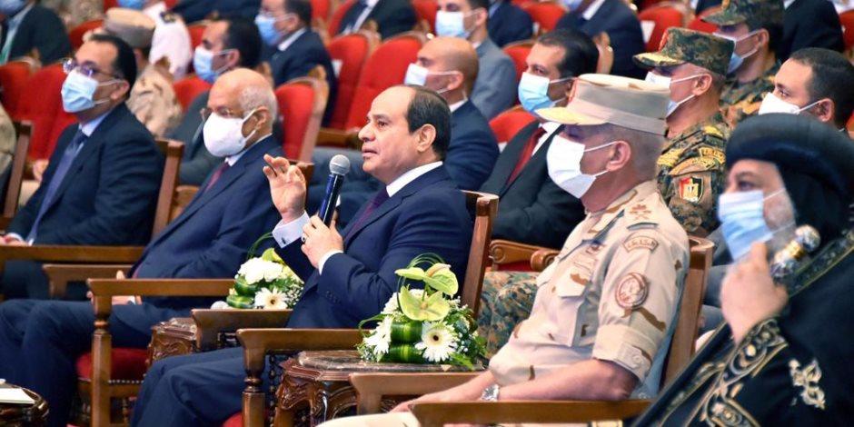 السيسي: أمن مصر القومى يمتد لكل نقطة يمكن أن تؤثر سلبا على حقوقنا التاريخية