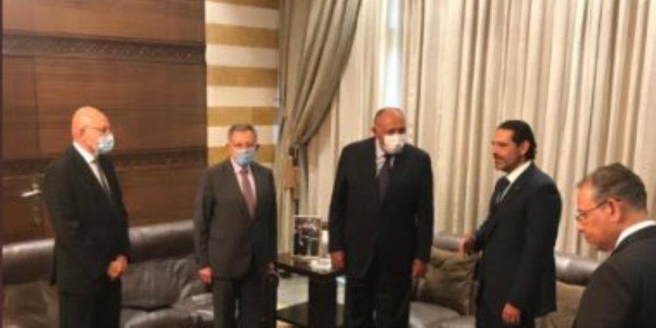 «شكري» يبحث الأوضاع السياسية اللبنانية مع رؤساء الوزراء السابقين (صور)