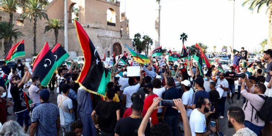 حراك 23 أغسطس يواصل مظاهراته الاحتجاجية ضد الوفاق في العاصمة طرابلس