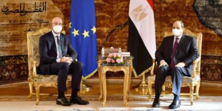 """الرئيس السيسى ورئيس المجلس الأوروبي يتوافقان علي إقامة """"منتدى للحوار"""" لمواجهة التطرف"""