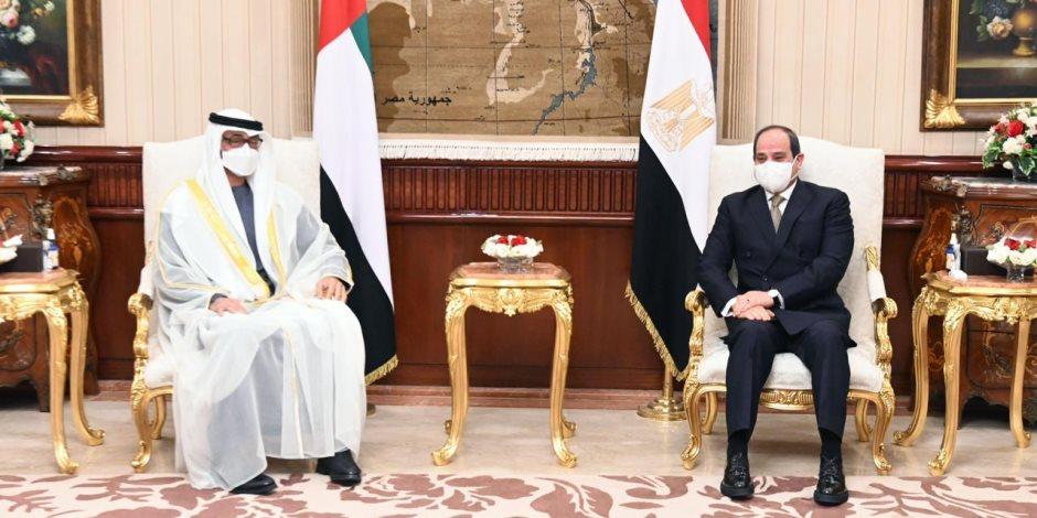 """المصريون يرحبون بزيارة الشيخ محمد بن زايد ولقاء الرئيس بهاشتاج """"نورت مصر"""""""