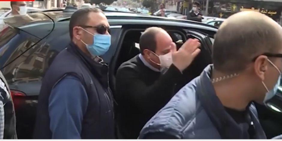 الرئيس السيسى يشدد على المواطنين الالتزام بارتداء الكمامات.. فيديو