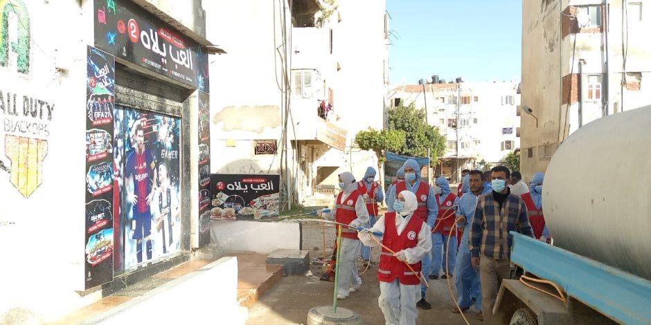 """بتعقيم وتطهير المؤسسات وشوارع المدن.. شمال سيناء تواصل مواجهة """" كورونا """" (صور)"""