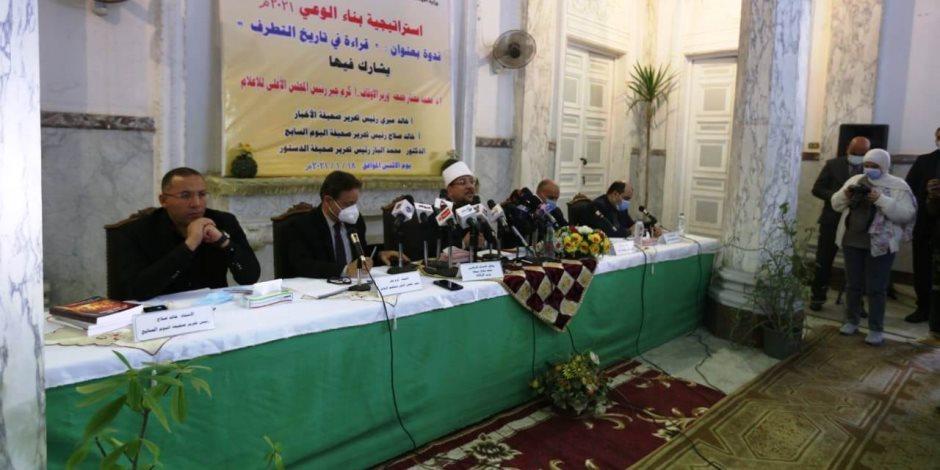 محمد الباز: الحياد لن يجدى نفعا ومعركة الوعي لن تستقيم الا بتوضيح التاريخ الاسود والمضلل للجماعات الإرهابية