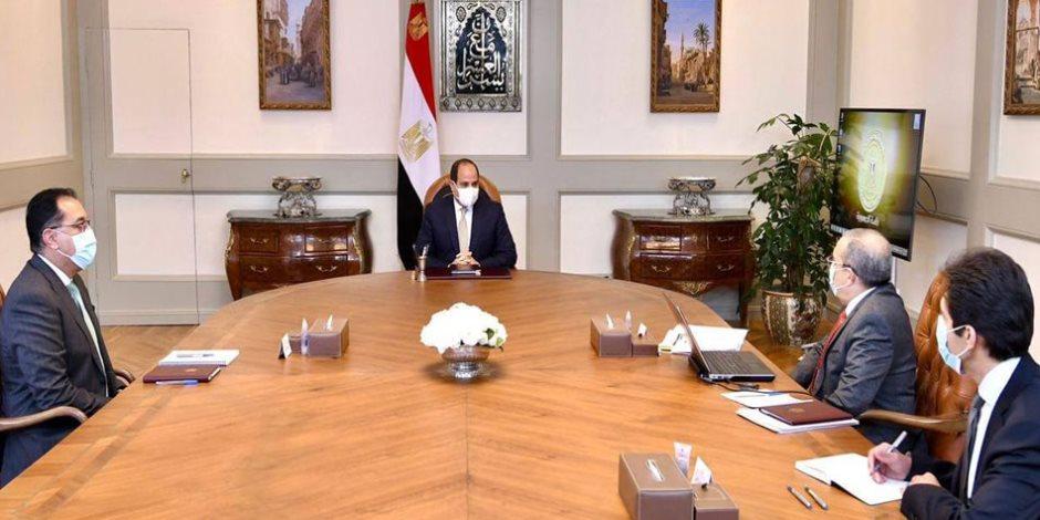 تفاصيل اجتماع الرئيس السيسي وزير الإنتاج الحربي حول استراتيجية تطوير المصانع والشركات