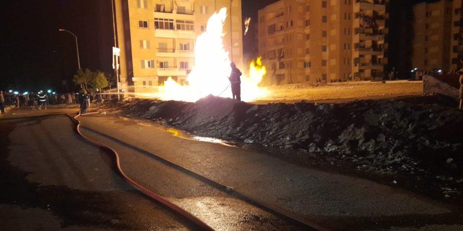 السيطرة على حريق خط الغاز بأكتوبر.. وفريق النيابة يصل الموقع لبدء التحقيق