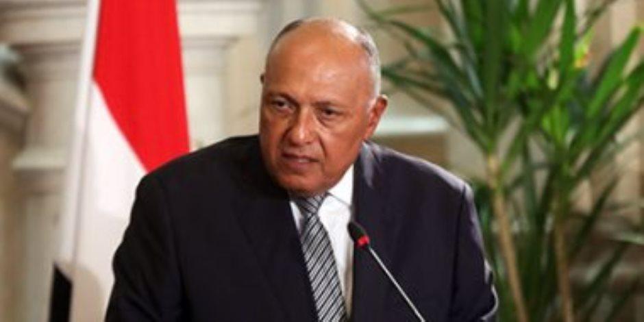 وزير الخارجية: العمليات العسكرية الإسرائيلية علي قطاع غزة تهدد مستقبل السلام بالمنطقة