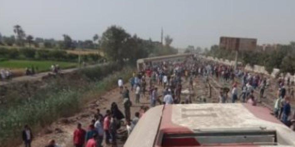 خروج 37 مصابا بحادث قطار طوخ من مستشفى بنها بعد تحسن حالتهم الصحية