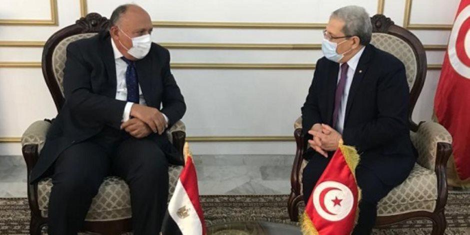وزير الخارجية يصل تونس لتسليم رسالة السيسي للرئيس قيس سعيد حول سد النهضة