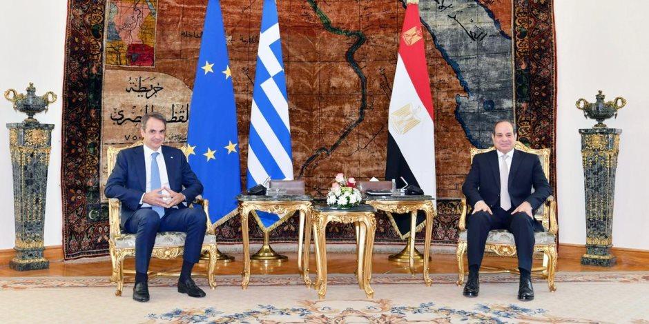 الرئيس السيسي في مؤتمر صحفي مشترك مع رئيس الوزراء اليوناني: توافقا على دعم أشقائنا الليبيين في إجراء الاستحقاق الانتخابي
