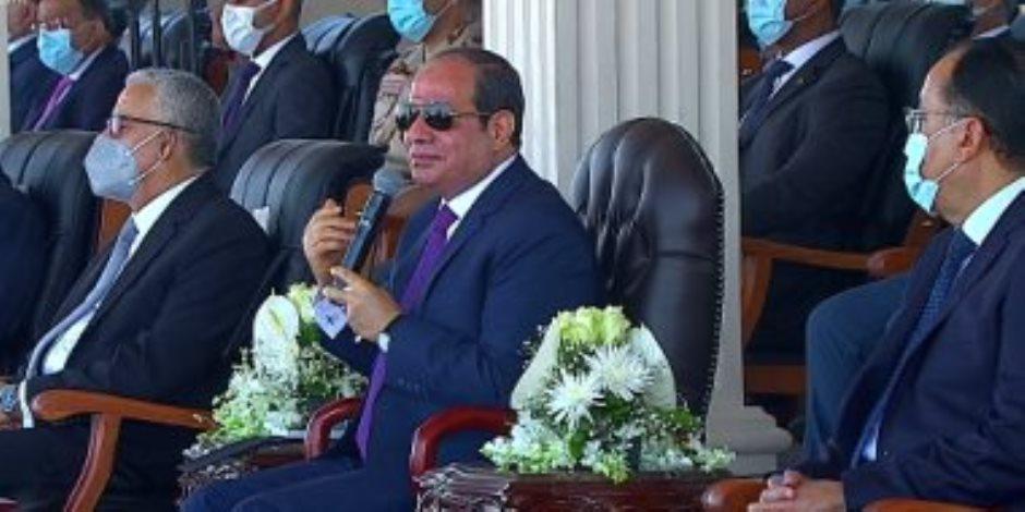 """السيسي: مشروع الدلتا الجديدة يستهدف 2.5 مليون فدان و""""اللى بنعمله ده بإمكانيات الدولة"""""""