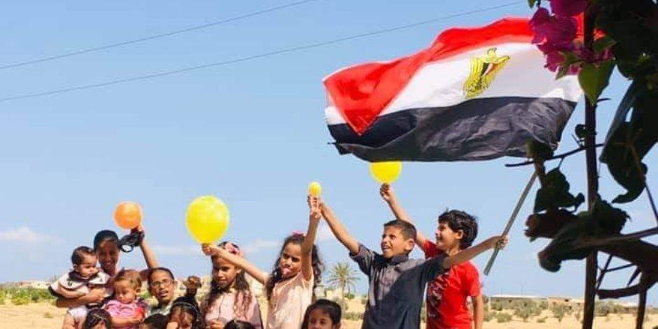 «صورة وطن».. أطفال الشيخ زويد بشمال سيناء يحتفلون في العيد بأعلام مصر