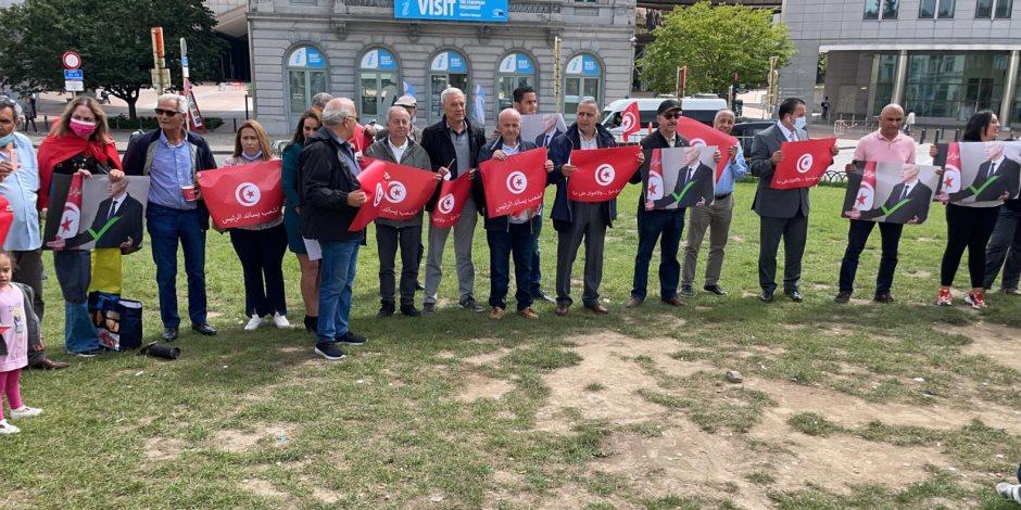 """الجالية التونسية في بلجيكا تدعم """"قيس سعيد"""": """"نعم للقرارات الإصلاحية ويسقط الغنوشي"""""""