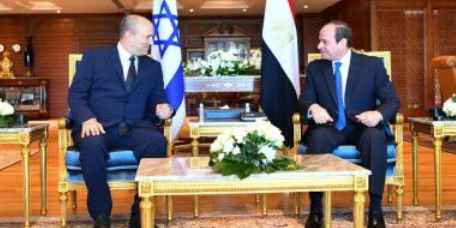 الرئيس السيسي يؤكد خلال لقاء رئيس وزراء إسرائيل دعم مصر لجهود تحقيق السلام الشامل