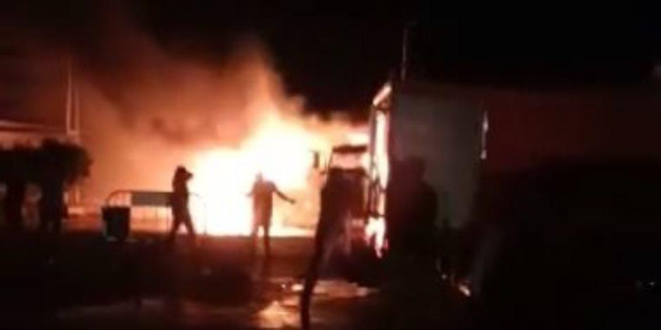 حريق في سوق شعبي بالعاصمة العراقية ببغداد والدفاع المدني يتدخل