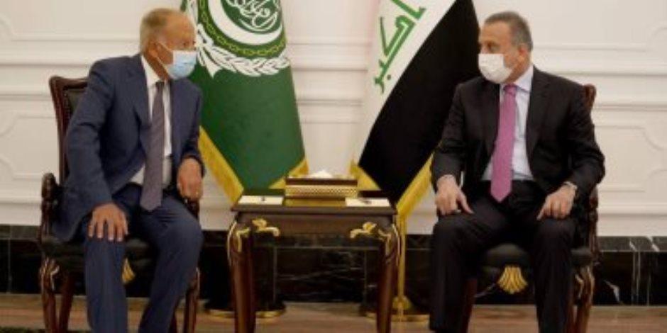 أبو الغيط يلتقى رئيس الوزراء العراقى.. ويؤكد دعم الجامعة العربية لبغداد