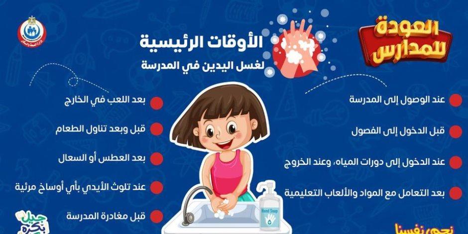 ما هي الأوقات التي يحتاج فيها طلاب المدارس غسل اليدين؟ .. الصحة تجيب