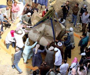 الأمن يخلي منطقة استخراج تمثال رمسيس