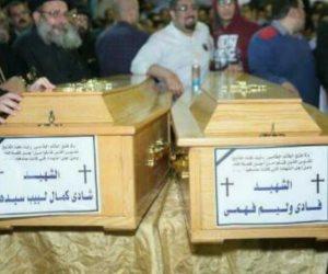 وصول جثامين شهداء الكنيسة المرقسية بالإسكندرية إلى دير مارمينا (صور)