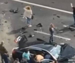 إصابة 3 أشخاص وتوقف حركة المرور بعد حادث تصادم بــ«دائري السلام»