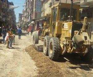 رصف شارع السلام بمدينة شبين الكوم فى المنوفية بتكلفة 600 ألف جنيه