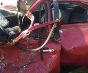 إصابة شخصان إثر حادث تصادم أتوبيس وسيارة أعلى المحور