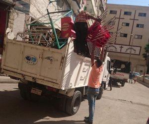 تحرير عدد من محاضر الإشغالات بمركز البلينا ورفع 22 طن مخلفات صلبة