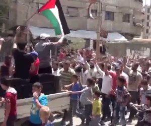 مسيرة حاشدة جنوب العاصمة السورية دمشق تضامنا مع الأقصى (فيديو)