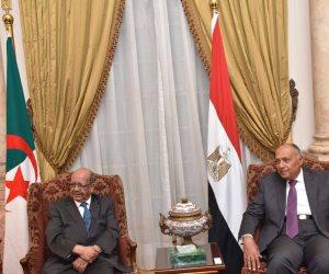 خلال مؤتمره مع نظيره الجزائري.. شكري: ليس لمصر ولا للجزائر أي أطماع في ليبيا