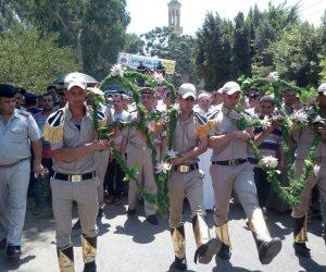أهالي السنطة يشيعون شهيد الواجب في جنازة عسكرية