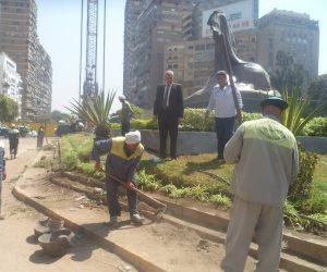 بعد انتهاء إجازة العيد.. صيانة وإصلاح الحدائق والمسطحات الخضراء بالجيزة