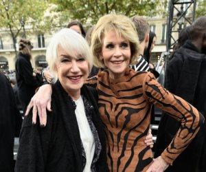 رغم وصولهما للسبعين..جين فوندا وهيلين ميرين على الكات ووك في أسبوع الموضة بباريس