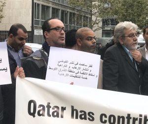 """""""قطر بالفلوس على كل شئ تدوس"""" هتافات التظاهرات ضد الدوحة فى شوارع باريس"""