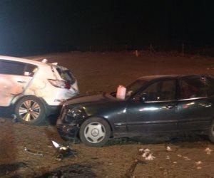 توقف حركة المرور  إثر حادث تصادم 5 سيارات أعلى محور صغط اللبن