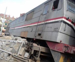 توقف حركة القطارات بالأسكندرية بعد خروج عربة قطار ومقطورة عن القضبان بالقباري