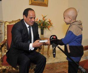 """فرحة بقرية """"أحمد المسيرى"""" بعد انتصاره على السرطان..""""طفل تمنى لقاء السيسى وقابله مرتين"""""""