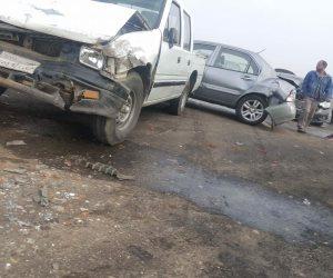 إصابة شخصان إثر حادث تصادم سيارتين أعلى طريق الفيوم الصحراوي