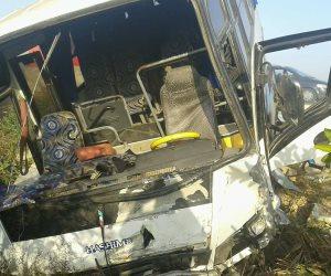الصحة: إصابة 10 مواطنين في حادث انقلاب أتوبيس بالشرقية