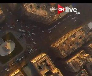 """إطلالة علوية لكاميرا """"ON Live"""" على ميدان الأوبرا بوسط البلد"""