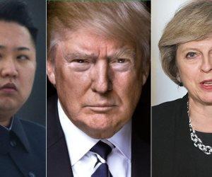 مهاويس النووي يحكمون العالم.. ترامب وتيريزا وكيم يهددون البشرية بحرب مدمرة